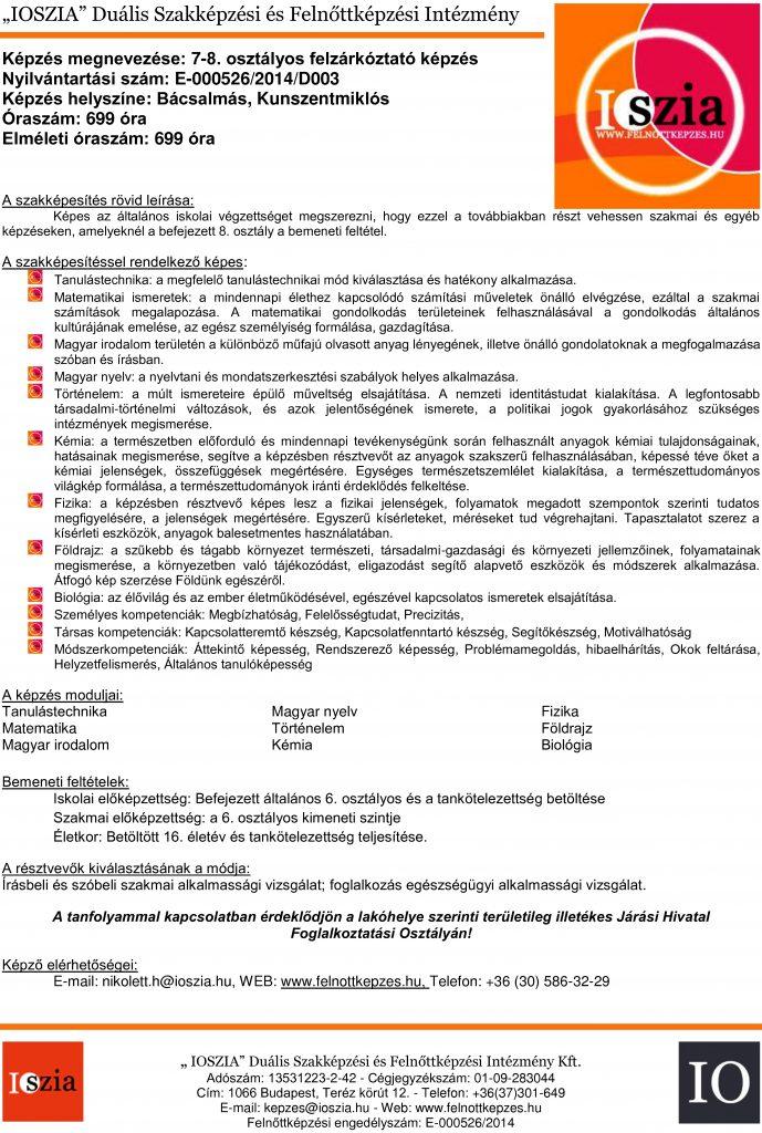 7-8. osztályos felzárkóztató - Bácsalmás - Kunszentmiklós - felnottkepzes.hu - Felnőttképzés - IOSZIA