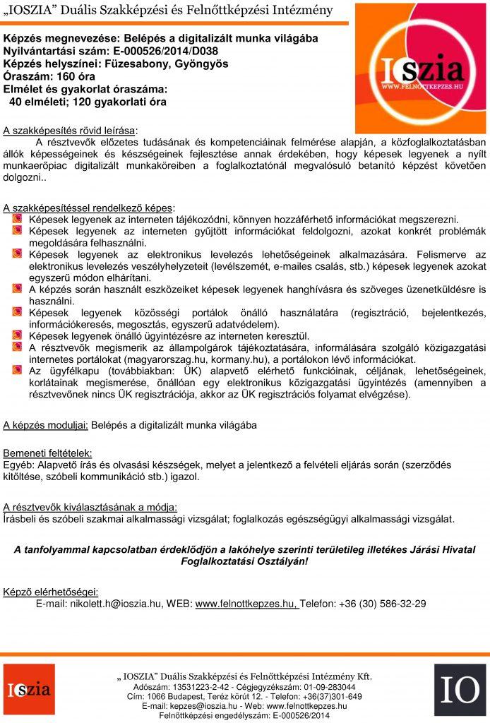 Belépés a digitalizált munka világába - Füzesabony - Gyöngyös - felnottkepzes.hu - Felnőttképzés - IOSZIA