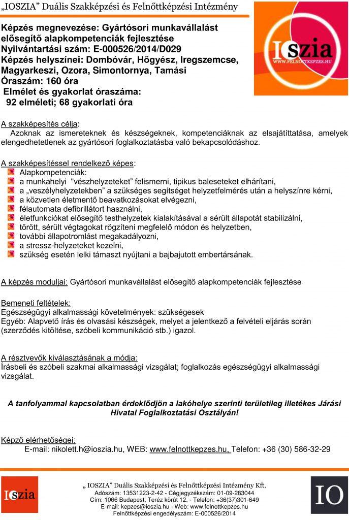 Gyártósori munkavállalást elősegítő alapkompetenciák fejlesztése - Dombóvár - Hőgész - Iregszemcse - Magyarkeszi - Ozora - Simontornya - Tamási - felnottkepzes.hu - Felnőttképzés - IOSZIA