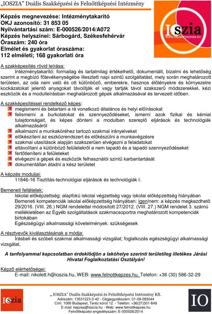Intézménytakarító OKJ - Sárbogárd - Székesfehérvár - felnottkepzes.hu - Felnőttképzés - IOSZIA