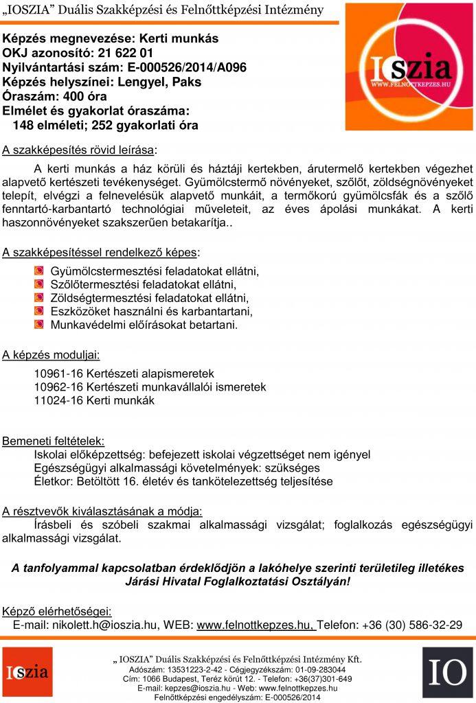 Kerti munkás OKJ - Legyel - Paks - felnottkepzes.hu - Felnőttképzés - IOSZIA