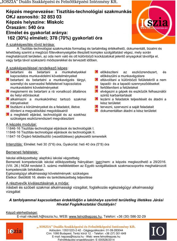 Tisztítás-technológiai szakmunkás - Miskolc - IOSZIA felnottkepzes.hu